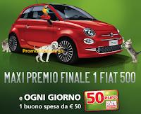 Logo Concorso ''Zampe Vincenti'' : vinci buoni spesa da 50€ e una Fiat 500
