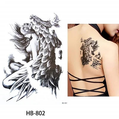 Mermaid Decal Sketch Temporary Tattoo Sticker Set for Body Arm Back Art Fake