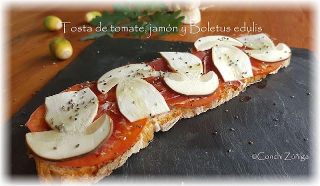 Tosta De Tomate, Jamón Y Boletus