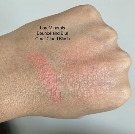 bareMinerals Bounce and Blur Coral Cloud Blush Swathces on Dark Skin