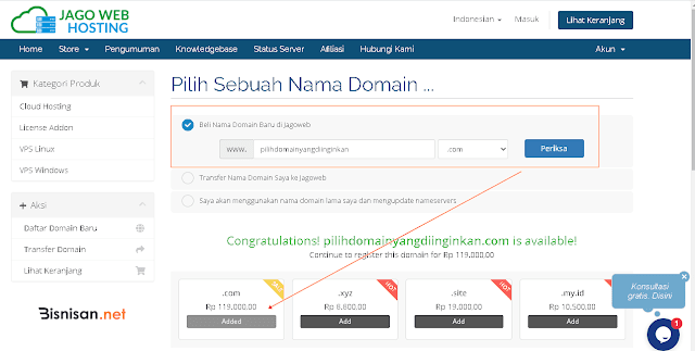 periksa nama domain