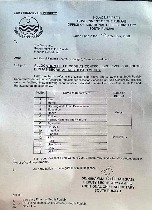ALLOCATION OF LQ CODE AT CONTROLLING LEVEL FOR SOUTH PUNJAB SECRETARIAT'S DEPARTMENTS
