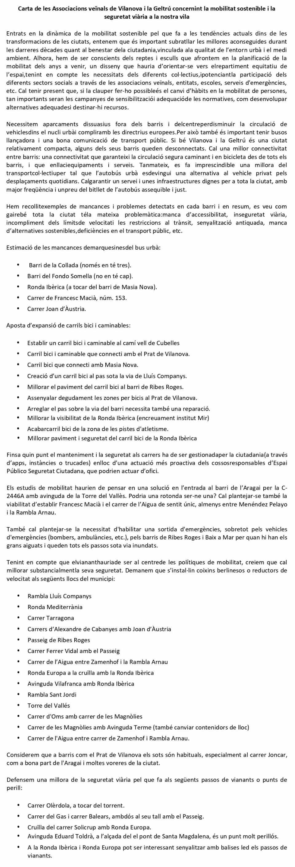 Carta de les Associacions veïnals de Vilanova i la Geltrú concernint la mobilitat sostenible i la seguretat viària a Vilanova i la Geltrú