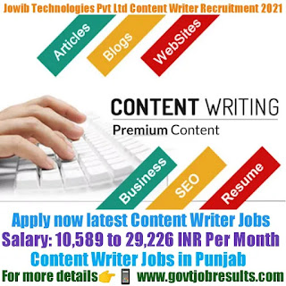 Jowib Technology Pvt Ltd Content Writer Recruitment 2021-22