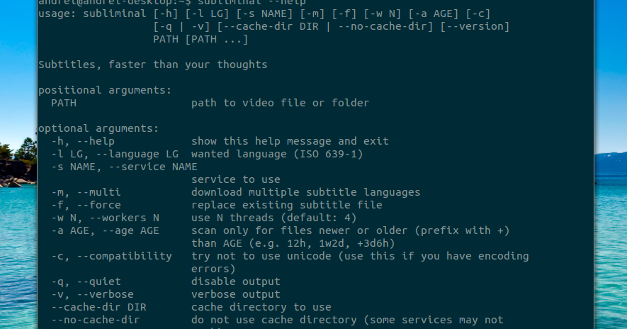 Subliminal: Command Line Tool To Download Subtitles From