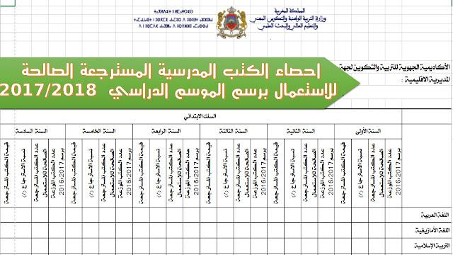 احصاء الكتب المدرسية المسترجعة الصالحة للاستعمال برسم الموسم الدراسي  2017/2018