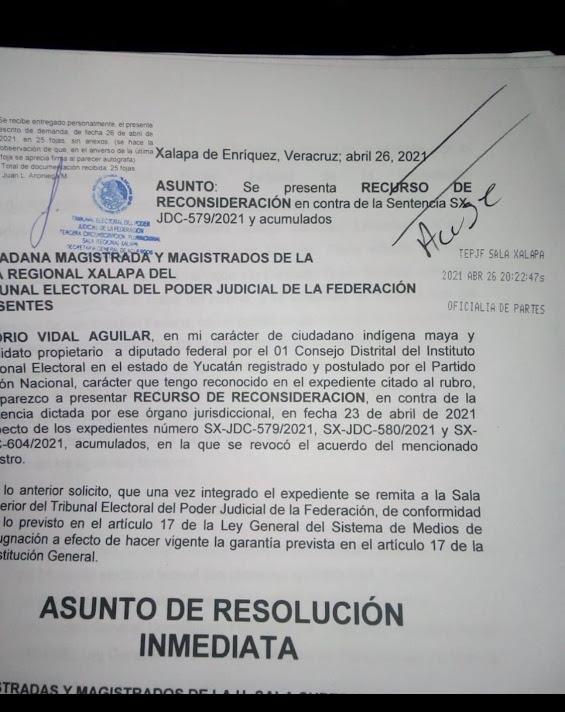 La Sala Superior estudiará de inmediato el recurso a favor de Liborio Vidal
