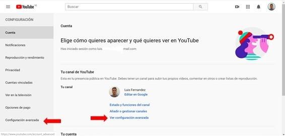 configuracion avanzada canal de youtube