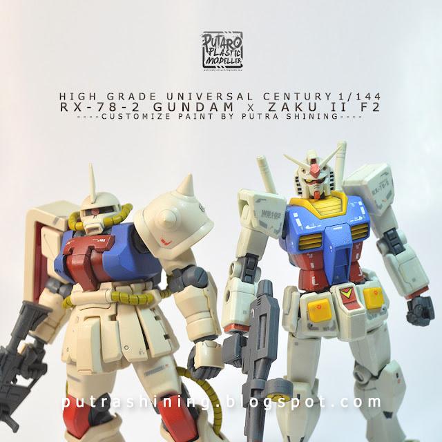 Zaku II F2 in Gundam Color Ver. x RX-78-2 Gundam Revive RG | Customize Paint by Putra Shining