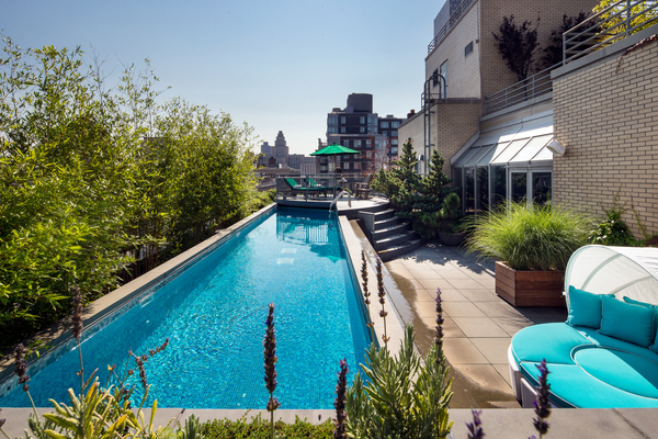 Photo of large swimming pool on the terrace of 66 Leonard Street penthouse