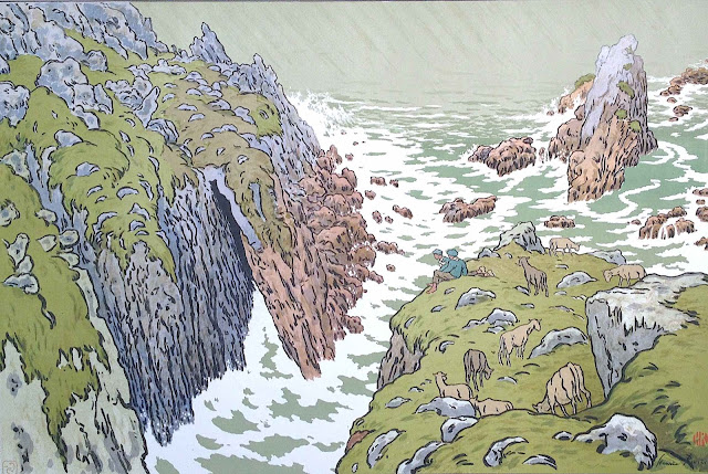 Henri Rivière, sheep herders on a very rugged coast watching the crashing waves