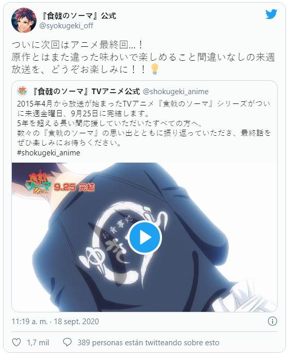Tweet que menciona el posible final diferente del anime de Shokugeki no Souma