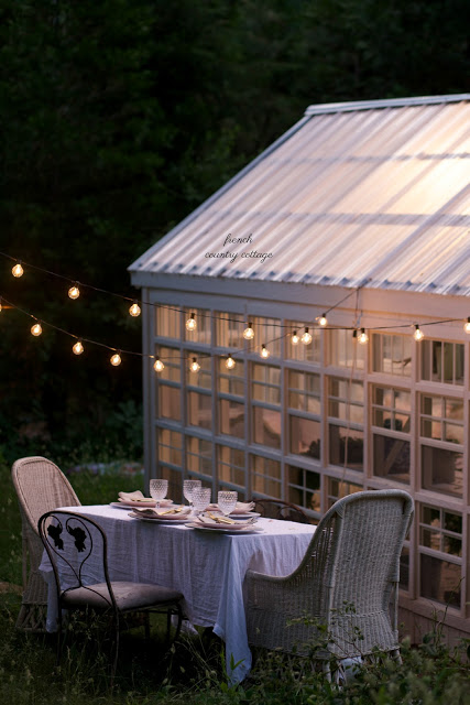 dining table outside shed at night