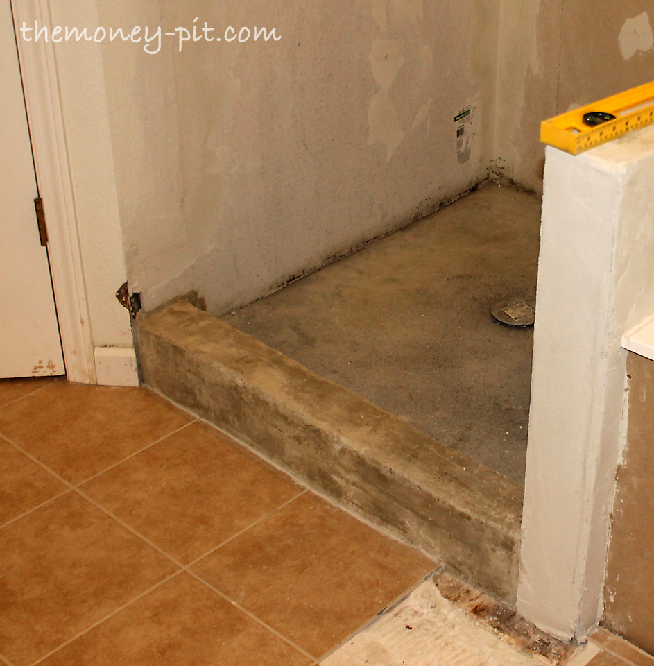 Master Bathroom Days 11 13 Shower Curb Waterproofing And Floor Repair