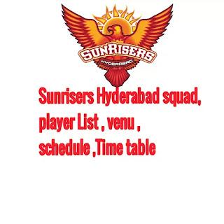 IPL 2020: Sunrisers Hyderabad Schedule