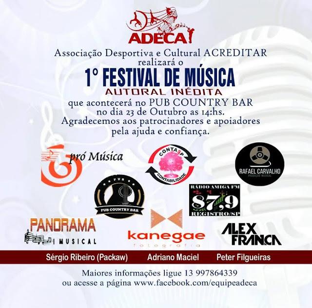 1º Festival de Música Autoral Inédita em Registro-SP