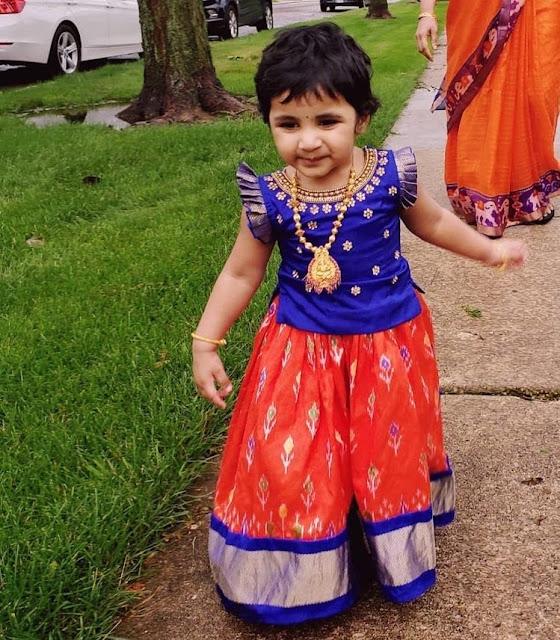 Little Cutie in Ikkat Red Lehenga