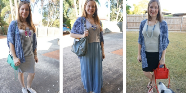 3 outfit ideas styling a navy printed kimono with skirts | away from the blue