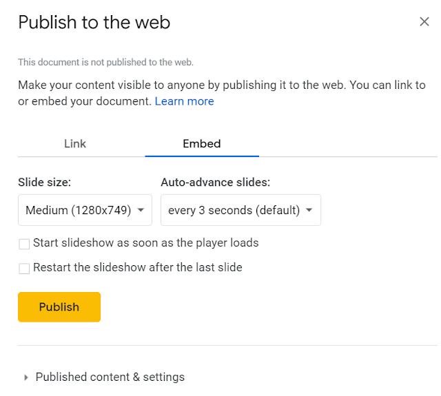 Google Slides Publish to Web
