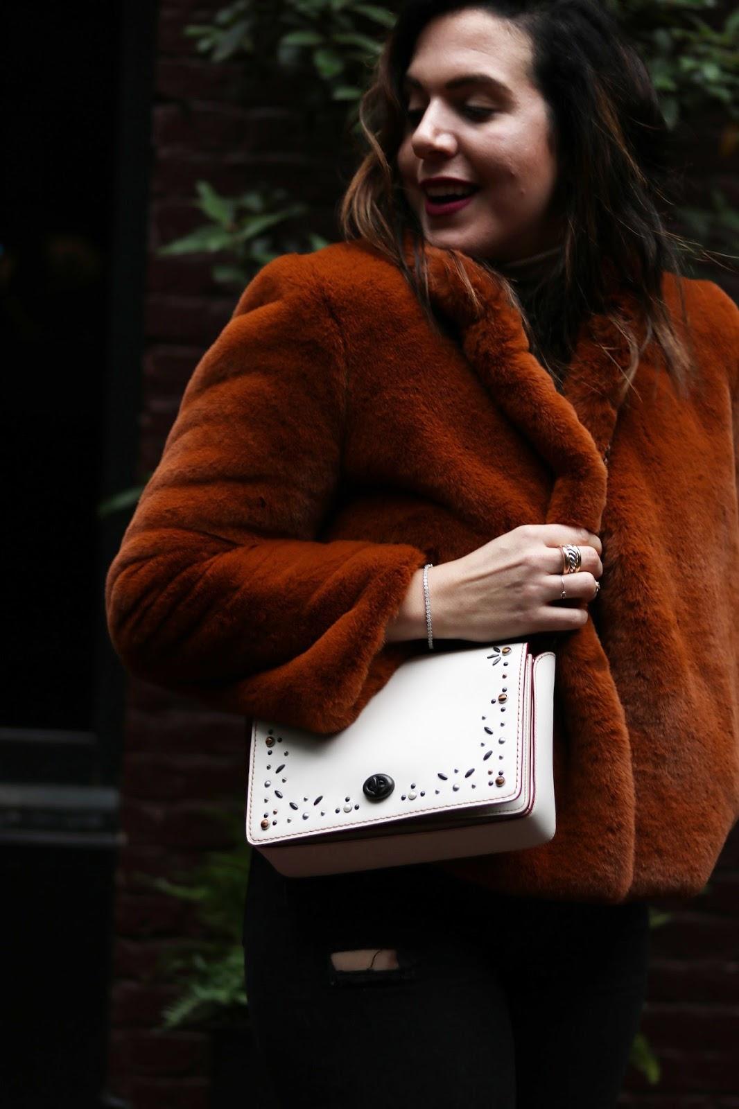 Coach Create Dinky 45 white custom handbag faux fur coat outfit vancouver fashion blogger