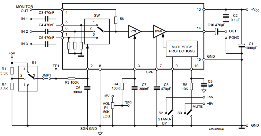 audio amplifier with dc volume control