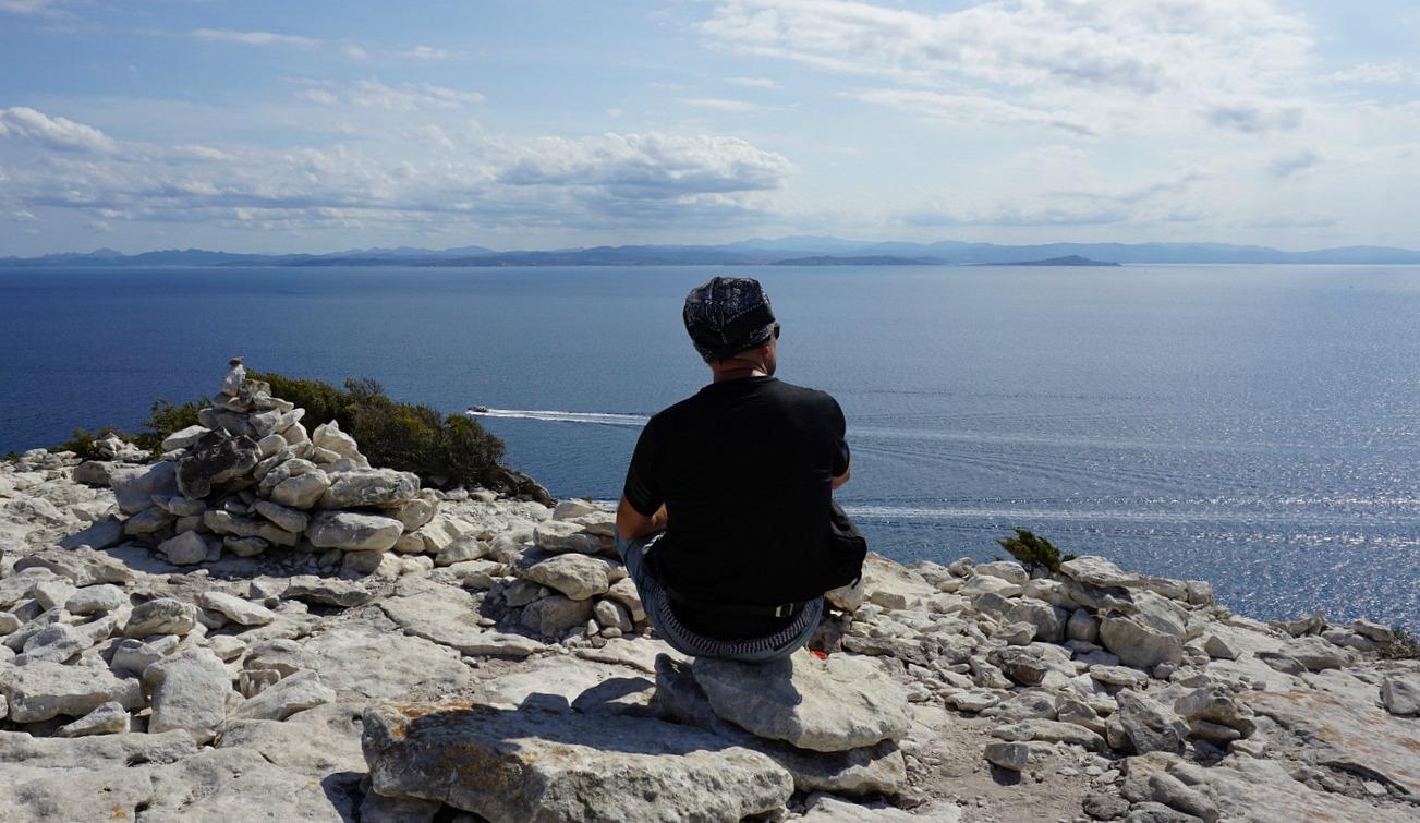 Viewing Sardinia from Pertusatu Corsica