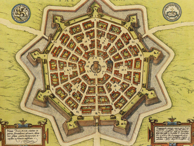 Palmanova Small town was a fortress in the shape of a nine-pointed star