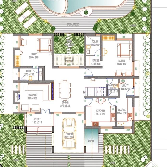 Free floor plan of 4 bed residence below 2100 sq ft 4 bed room residence