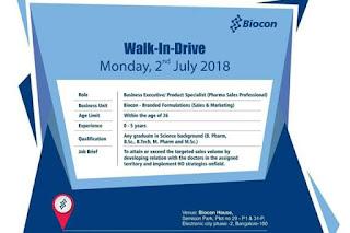 Biocon Limited Walk In Interviews For B.Pharm, B.Sc, B.Tech, M.Pharm, M.Sc at 2 July
