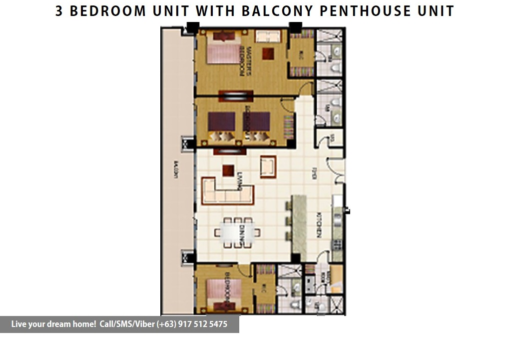 Floor Plan of SMDC Wind Residences - 3 Bedroom Penthouse Unit | Condominium for Sale Tagaytay Cavite