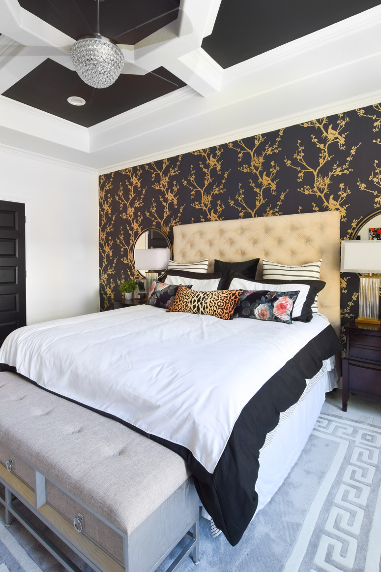 A black, white and gold master bedroom makeover with floral touches and tons of unique DIY ideas. I love every inch of this space!