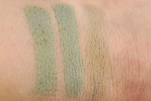 Alverde Schminkstift 10 weiss Kunterbunte Farbwelt LE vs. Nyx Dr. Hauschka Duo 08 Daring Green