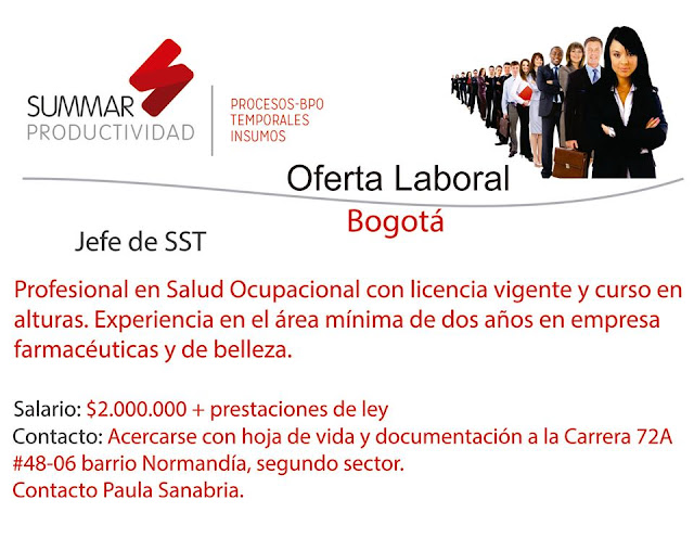 Empleo como Profesional Salud Ocupacional en Bogota