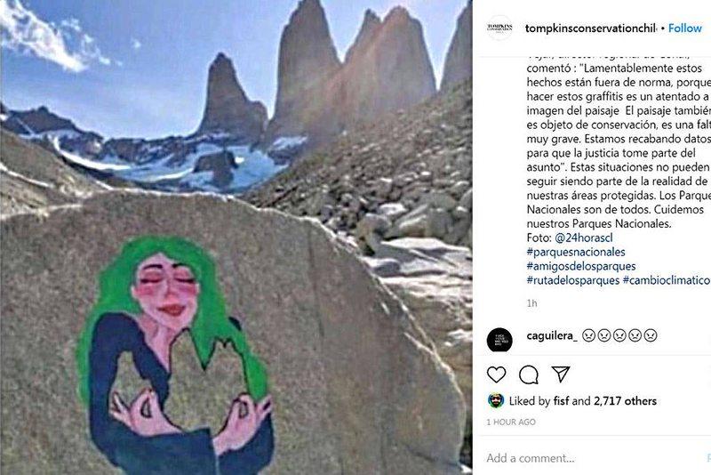 Buscan a autor de este graffiti inmortalizado en Torres del Paine