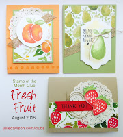 Stampin' Up! Fresh Fruit Card Kit for Stamp of the Month Club (August 2016) with Julie Davison www.juliedavison.com/clubs