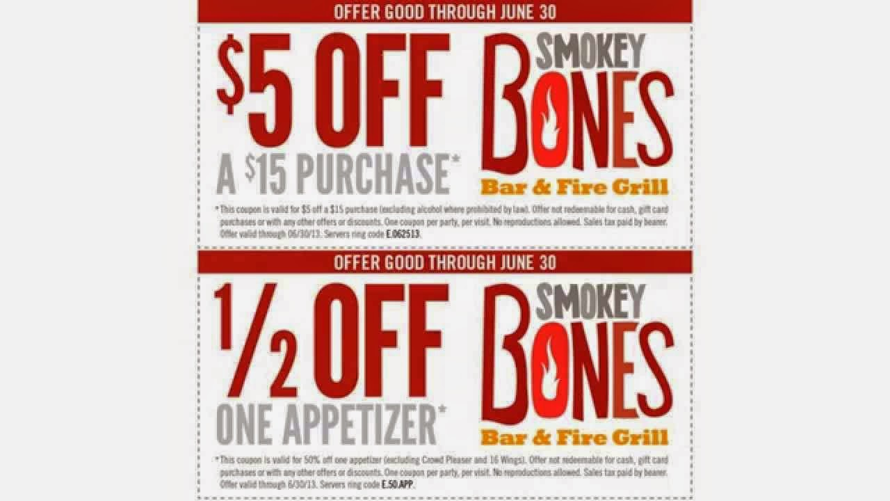 photograph relating to Smokey Bones Coupons Printable known as Smokey Bones Discount codes - Totally free Promo Codes and Discount codes 2019