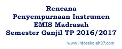 Rencana Penyempurnaan Instrumen Emis Madrasah Tahun Pelajaran 2016/2017