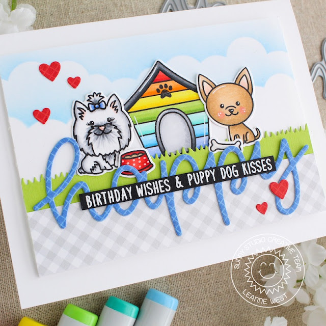 Sunny Studio Stamps: Puppy Dog Kisses Puppy Parents Happy Word Die Puppy Themed Birthday Card by Leanne West