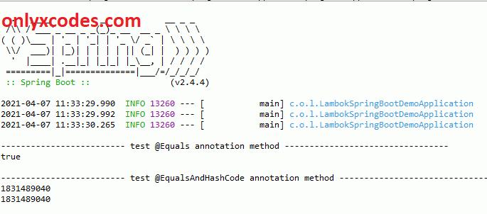 @EqualsAndHashCode annotation output