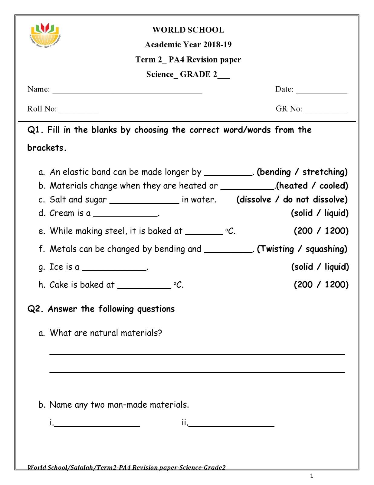 Birla World School Oman Homework For Grade 2 As On 08 04