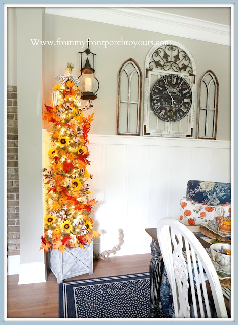 Farmhouse Cottage Style Fall Dining Room-Fall Christmas Tree-From My Front Porch To Yours