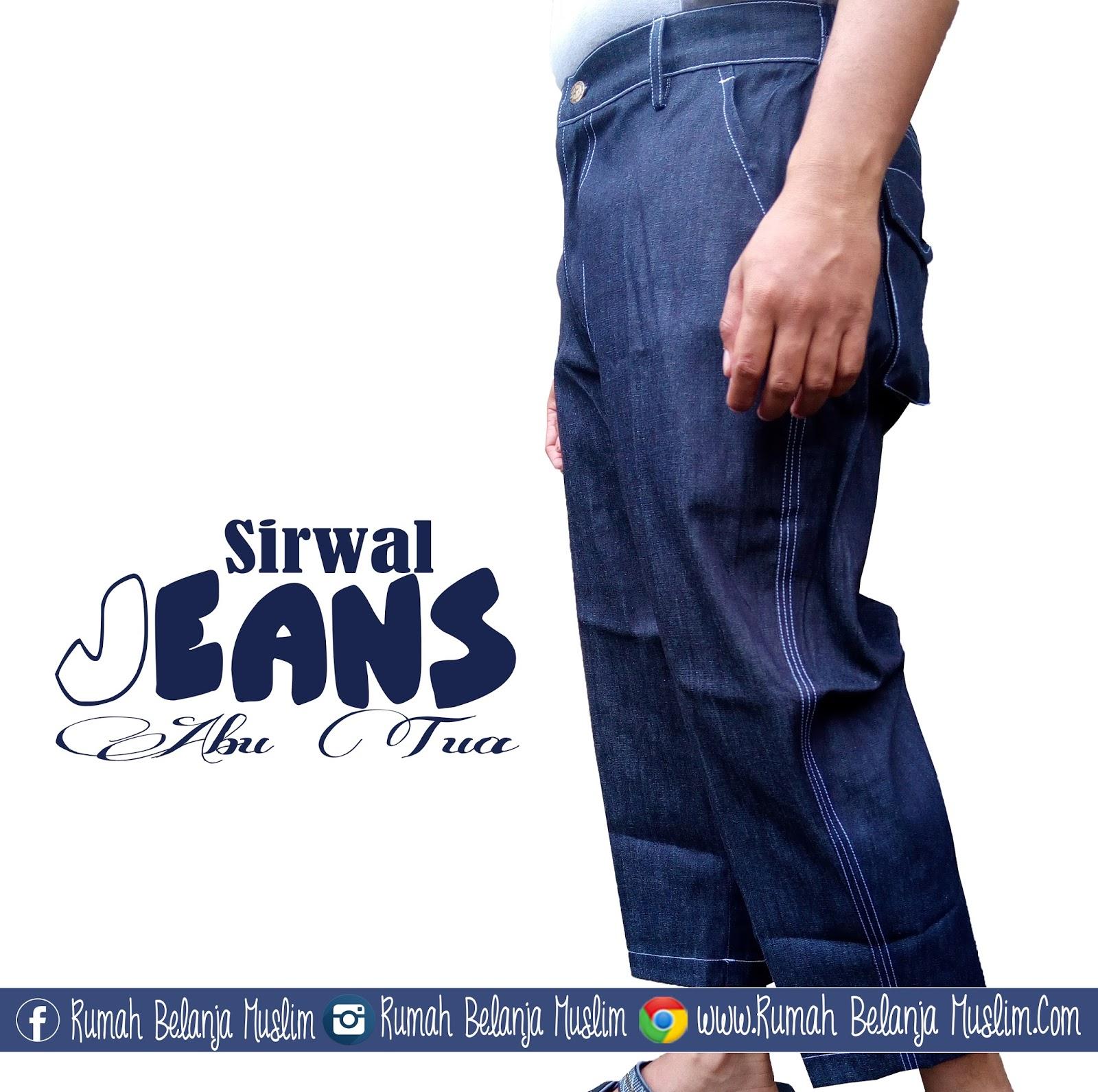 Celanaku Celana Cingkrang Sirwal Tidak Isbal Boxer Ukuran L Biru Bunayya Laa Isbaal Jeans