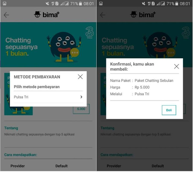 Cara Beli Paket Chatting 3 Tri 30 Hari Rp5000 Terbaru