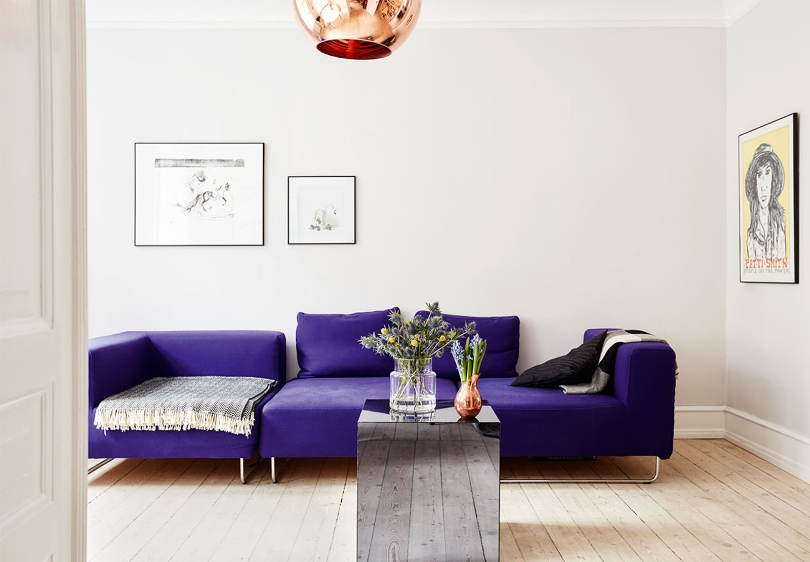purple sofa, danish deisgn, copper pendant, scandinavian apartment