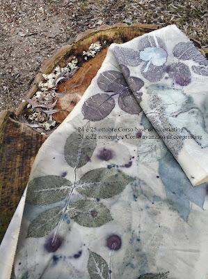 ecoprint ecoprinting corso corsi stampa vegetale su tessuto workshop tintura naturale colori vegetali naturali