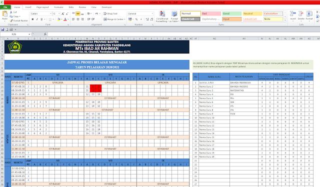 Aplikasi Jadwal Pelajaran Anti Bentrok Tingkat SMP/MTs Tahun 2020