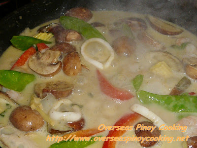 Seafood and Vegetable Green Curry - Cooking Procedure