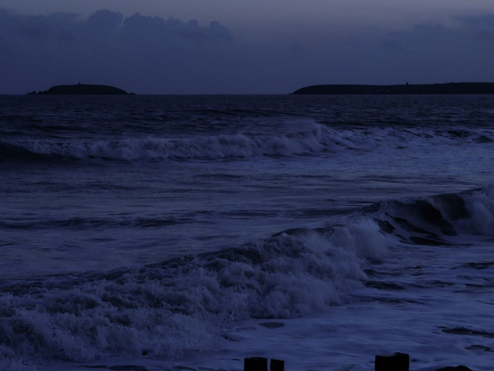 Ocean waves captured during blue hour in Youghal, Co.Cork.