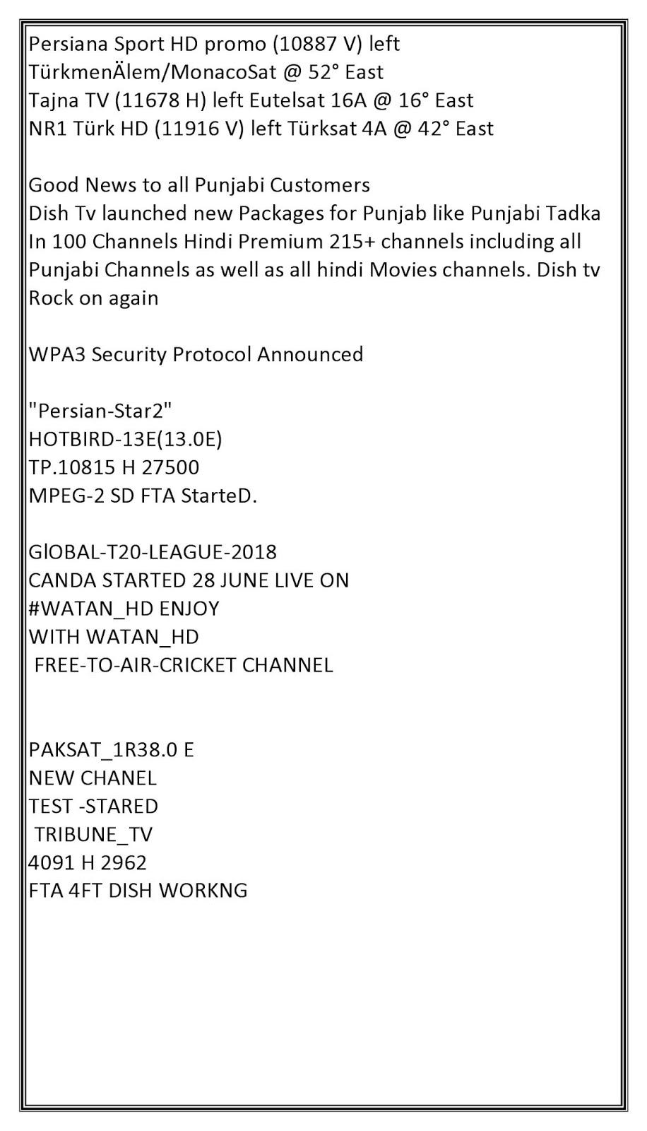 Satellite TV News: Satellite Television News 26-6-18