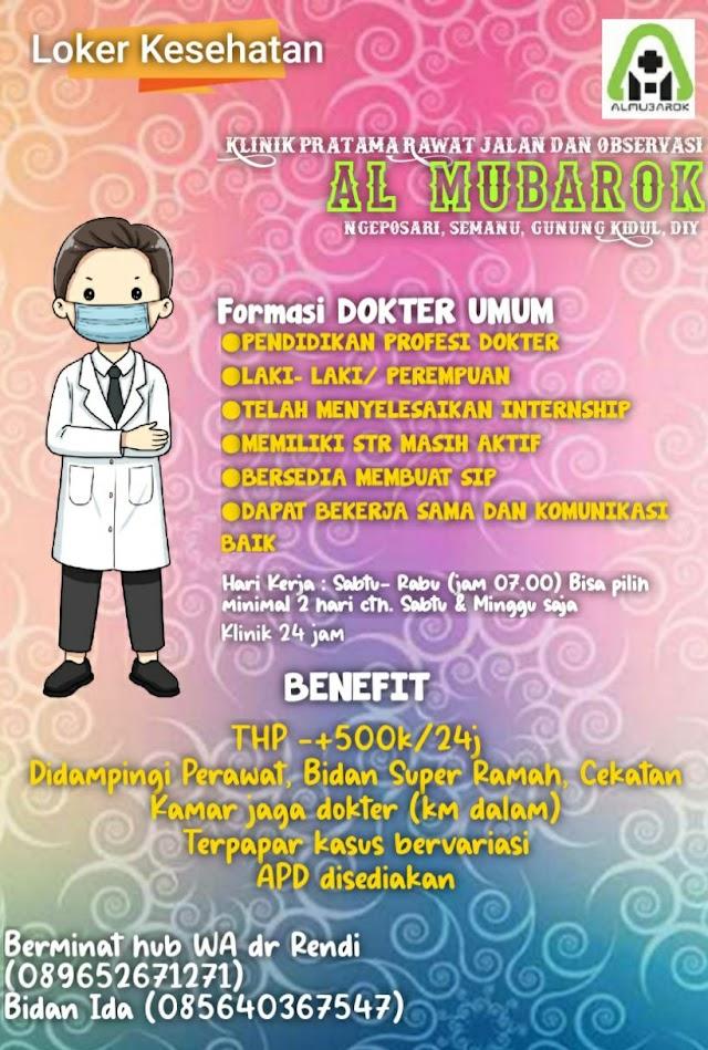 Loker Dokter Klinik Pratama Rawat Jalan Al Mubarok Gunung Kidul, DI Yogyakarta